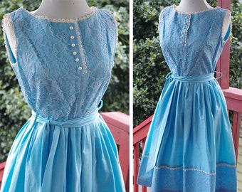 27ebb8697c8 SKY Blue 1950 s 60 s Vintage Light Blue Sleeveless Cotton Party Dress w   Lace + Sash Belt    size XS Small    Waist 25
