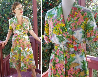 fe8d0d09c7ee In BLOOM 1980 s 90 s Vintage Beautiful Vibrant Floral Rayon Day Dress w   Matching Belt    size Small Med    by Carol Anderson