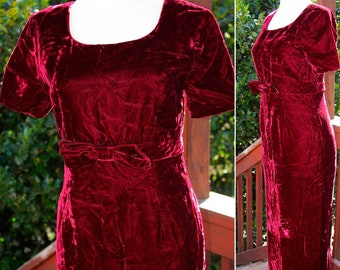 CABERNET 1990's Does 60's Vintage Deep Berry Red VELVET Dress with Bow // size XS Small
