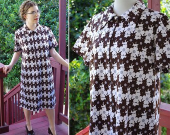 cffd361d7f73 Crazy DAISY 1960 s 70 s Vintage Dark Brown + White Shift Dress w  Short  Sleeves + Front Zipper    size Large    by Brief Notes