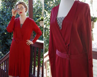 RUBY 1930's Vintage Art Deco Deep Wine RED Rayon Crepe Dress with Matching Celluloid Belt // size Small Medium // SF Opera Costume
