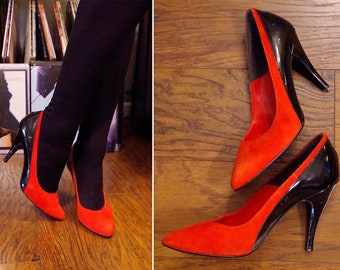 b160077d52e Red HOT 1980 s Vintage Bright Red Suede + Black Patent Leather High Heels     by PROFILES    size 8 M    Made in U.S.A.