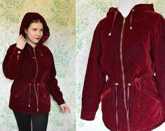 DEEP Red Velvet 1980's 90's Vintage Quilted Cinch Waist Velvet Puffer Parka Jacket w/ Hood // by Julia KLEIN // size Small Medium
