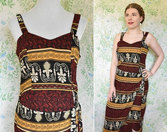 NAPLES 1990's Vintage Black Deep Red + Golden Yellow Tropical Sleeveless Floral Wrap Day Dress // size Medium // by STELLA Fashion Inc.