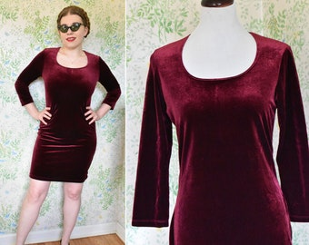 Red WINE 1990's Vintage Deep Maroon Red Velvet Babydoll Party Dress w/ Long Sleeves // by VIVYD // size Medium // Made in USA