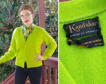 Lime 1960's by size Medium Squeeze Acrylic Bright Sweater Men's Green Fabulous Cardigan Vintage LIME KANDAHAR YZwgAq1