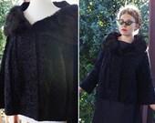 ONYX 1950 39 s Vintage Luxurious Pure KARAKUL Fur Coat with Black MINK Fur Collar size Medium Large