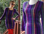 STRIPES 1990 39 s Sexy Vintage Tight Sexy Purple Dress with Colorful Stripes Long Sleeves by My Michelle size Small DEADSTOCK with Tags