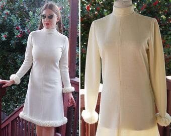760a552aa192 Snow BUNNY 1960 s Vintage Cream White Shift Dress with Long Sleeves and  Fluffy Yarn Edges    size Small    by Ann + Lorry s
