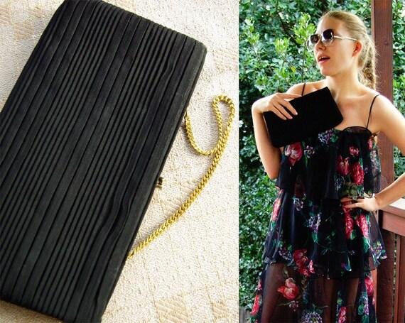 NOIR 1950's 60's Vintage Black Handbag Clutch Purs