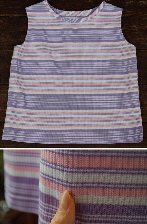 White Striped Sleeveless Blouse  size Medium Pastel STRIPES 1960/'s 70/'s Vintage Purple Pink