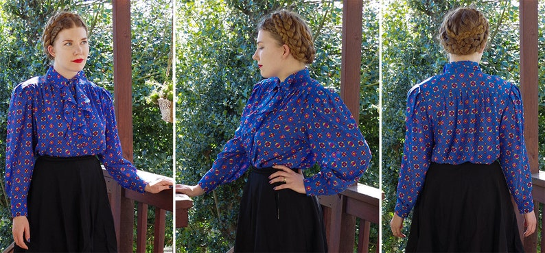 Red Modern Victorian Blouse  Long BIG Sleeves  size Medium  by Josephine RUFFLED 1970/'s 80/'s Vintage Bright Blue Yellow