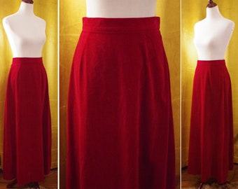 """Dark VELVET 1960's Vintage Deep Burgundy Red Long Velvet Velour Maxi Skirt // size Small Medium 29"""" Waist // CHRISTMAS Holiday"""