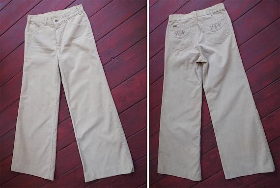 CORDUROY 1960's 70's Vintage Khaki Beige Cotton H… - image 4