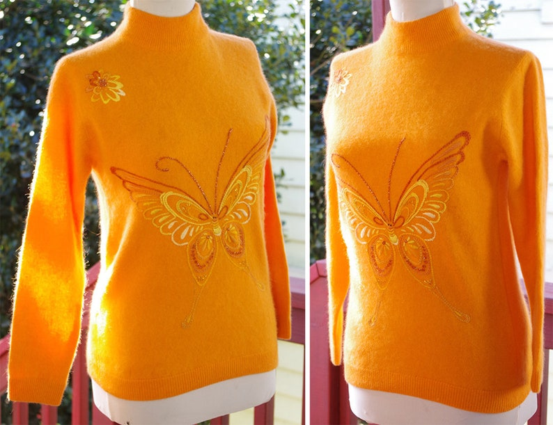 BUTTERFLY 1960/'s Vintage Bright Orange Embroidered Angora Wool Sweater w Back Zipper  size Small 34  by PANDA
