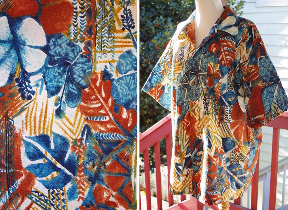 1960s – 70s Men's Ties | Skinny Ties, Slim Ties Tiki Party 1960s 70s Vintage Mens Red Brown  Teal Blue Cotton Barkcloth Hawaiian Button Down Shirt  Size Large Xl Diamond Head $64.99 AT vintagedancer.com
