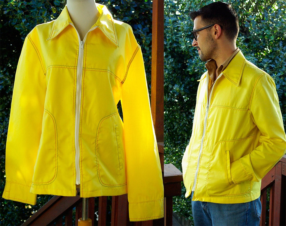 1960s – 70s Men's Ties | Skinny Ties, Slim Ties Action Jacket 1960s Vintage Sunny Yellow Mens Light Nautical  Size Large 44 By Catalina $28.00 AT vintagedancer.com