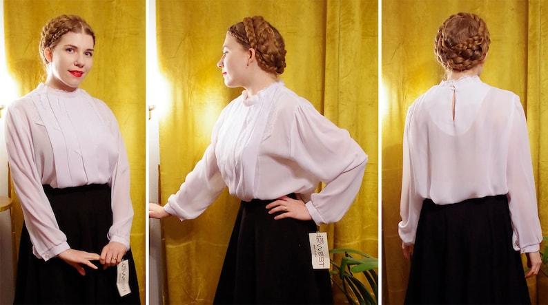 Long Sleeves  size XL Large  by Lady 12 WEST  Deadstock w Tags The ROMANTIC 1980/'s Vintage Sheer White Blouse w Lace Collar Pleats