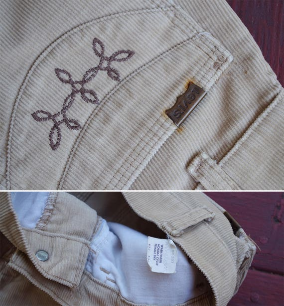 CORDUROY 1960's 70's Vintage Khaki Beige Cotton H… - image 6