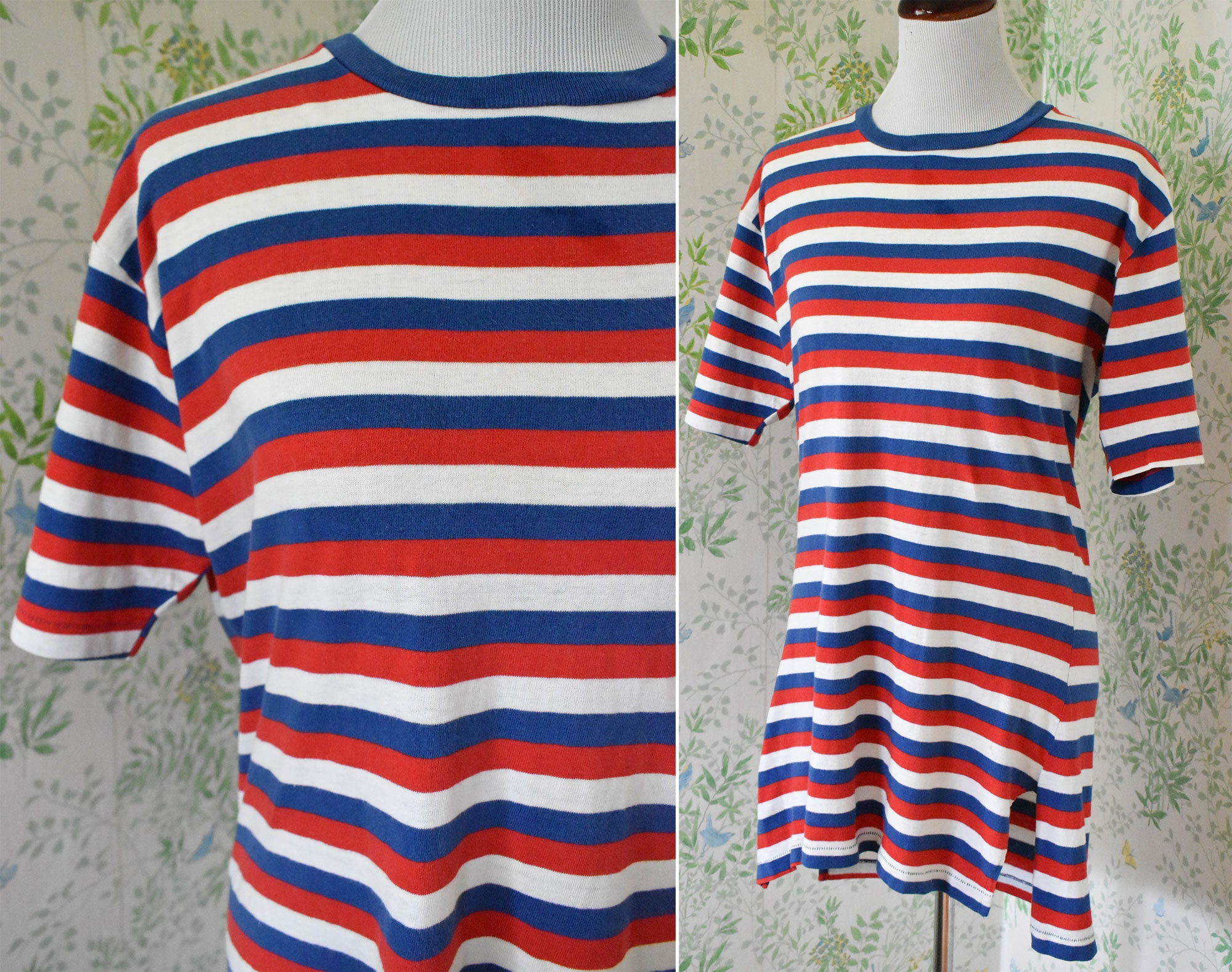1940s Men's Shirts, Sweaters, Vests July Fourth 1940s 50s Vintage Red White  Blue Striped Long T Shirt with Short Sleeves  Hand Stitching  By Reis Whirl About $18.00 AT vintagedancer.com