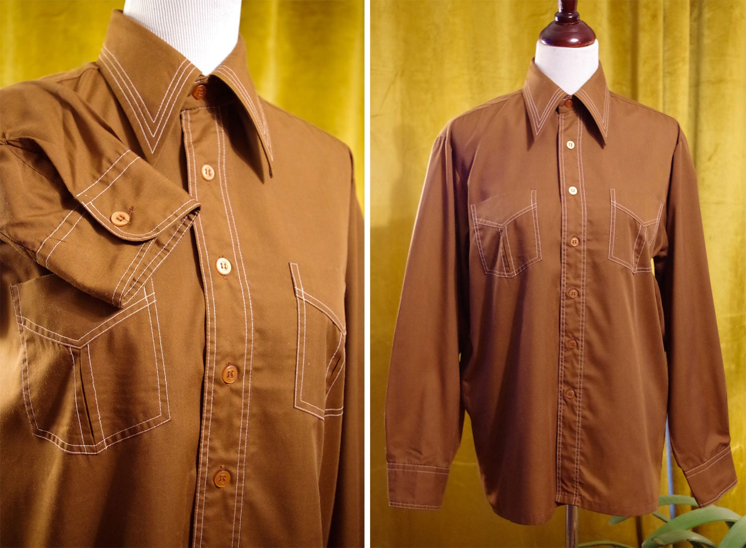1970s Men's Shirt Styles – Vintage 70s Shirts for Guys Hot Chocolate 1970s Mens Vintage Brown Button Down Shirt with Long Sleeves  White Stitching  By Jc Penney Size Medium 15-15 12 $44.99 AT vintagedancer.com