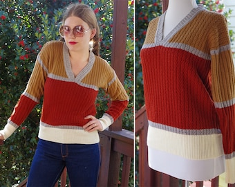 PITTSBURGH 1970's Vintage Brick Red Brown & Cream Striped Men's V Neck Sweater Shirt with Long Sleeves // size Medium // by KIMLON