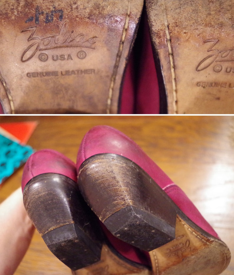 EGGPLANT 1980/'s 90/'s Vintage Deep Purple Dyed Leather Western Ankle Boots Booties  by ZODIAC  size 4 12 4.5 M