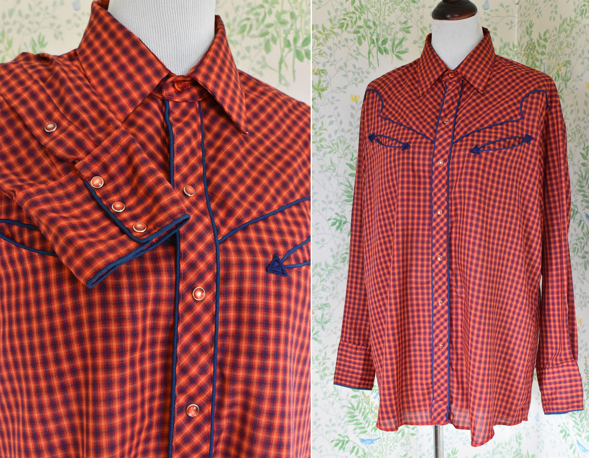 1970s Men's Shirt Styles – Vintage 70s Shirts for Guys Country Plaid 1970s Vintage Mens Bright Red Orange  Navy Western Cowboy Shirt with Pearl Snaps Arrow PocketsSize Large Xl  By Karman $49.99 AT vintagedancer.com