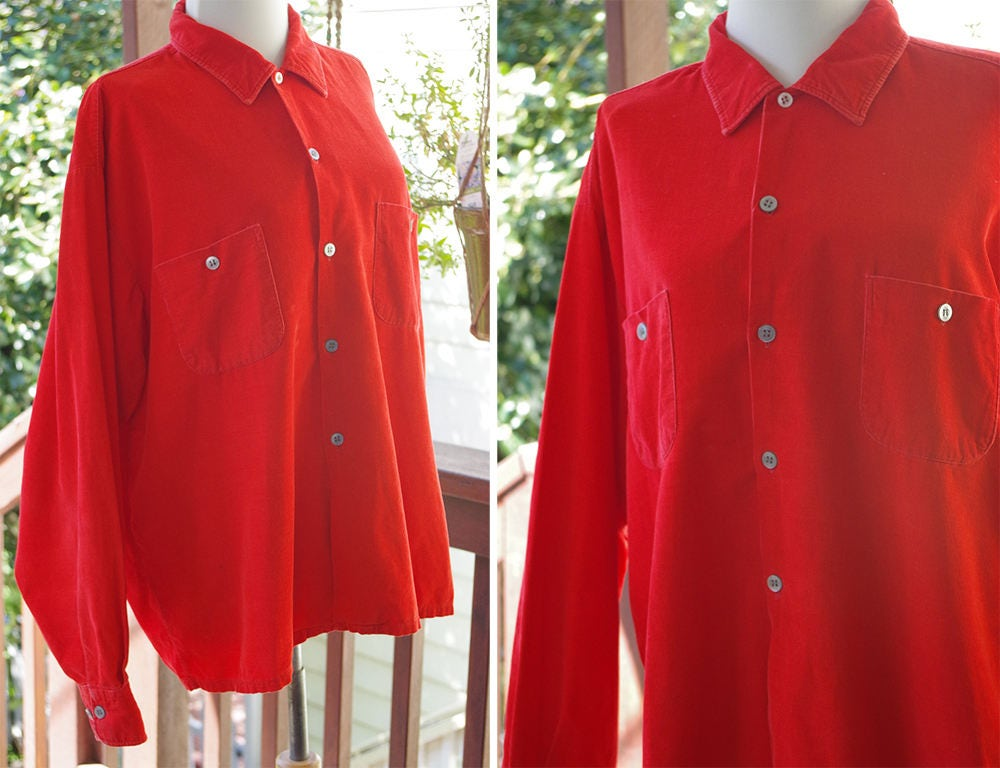 1950s Men's Ties, Bow Ties – Vintage, Skinny, Knit Tomato Red 1950s Vintage Mens Classic Bright Cotton Corduroy Country Shirt  By Timbercord Size Xl 17 17.5 $59.99 AT vintagedancer.com