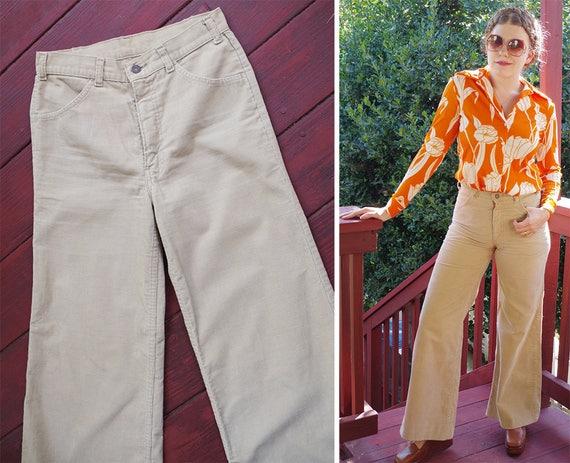 CORDUROY 1960's 70's Vintage Khaki Beige Cotton H… - image 2