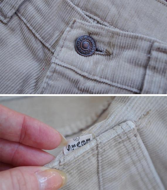 CORDUROY 1960's 70's Vintage Khaki Beige Cotton H… - image 5