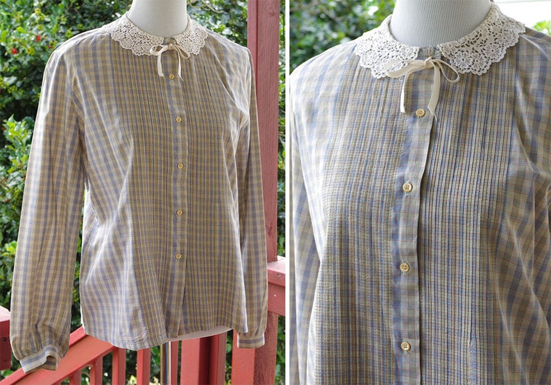 Light PLAID 1980/'s Vintage Light Gray Cotton Blouse w Lace Collar Tiny Pleats Long Sleeves  size Medium  by SAKS Fifth Avenue