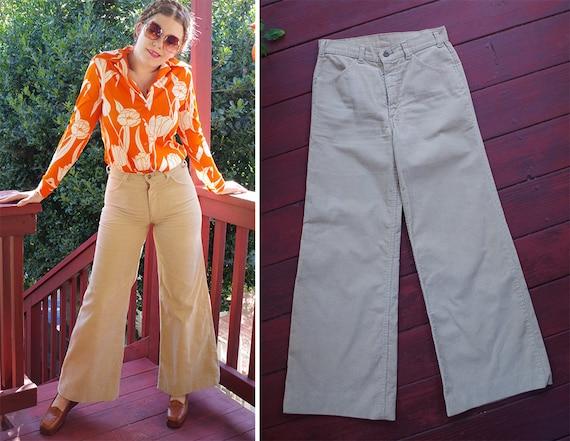 CORDUROY 1960's 70's Vintage Khaki Beige Cotton Hi