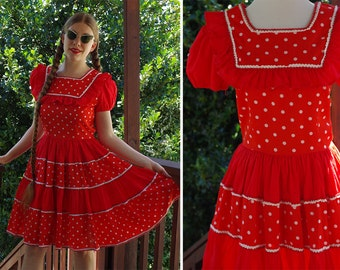 POLKA Dot 1960's Vintage Bright Red White Square Dance Dress w/ Ruffles + Silver Trim // Circle Skirt // size Small // by Kate Schorer
