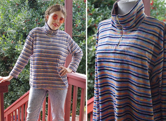 SPACE Dyed 1970's 80's Vintage Striped Blue + Oran