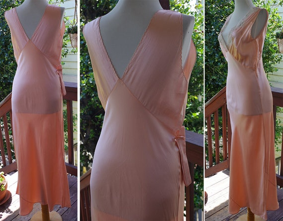 Great GATSBY 1930's Vintage Antique Pink Silk Wed… - image 4