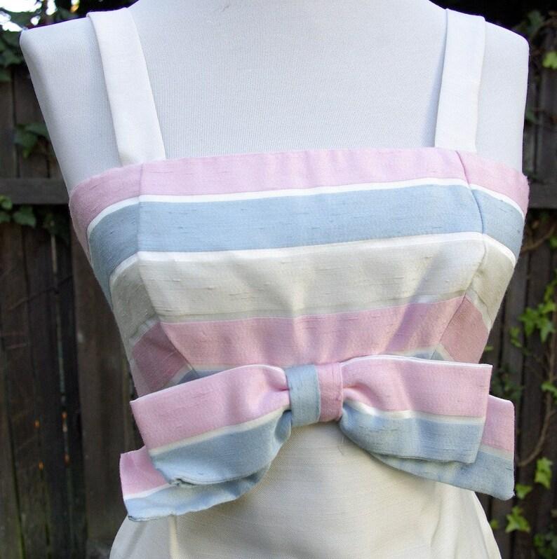 396a44569a9 PASTEL Bow 1960 s Vintage Long White Pink Blue Striped