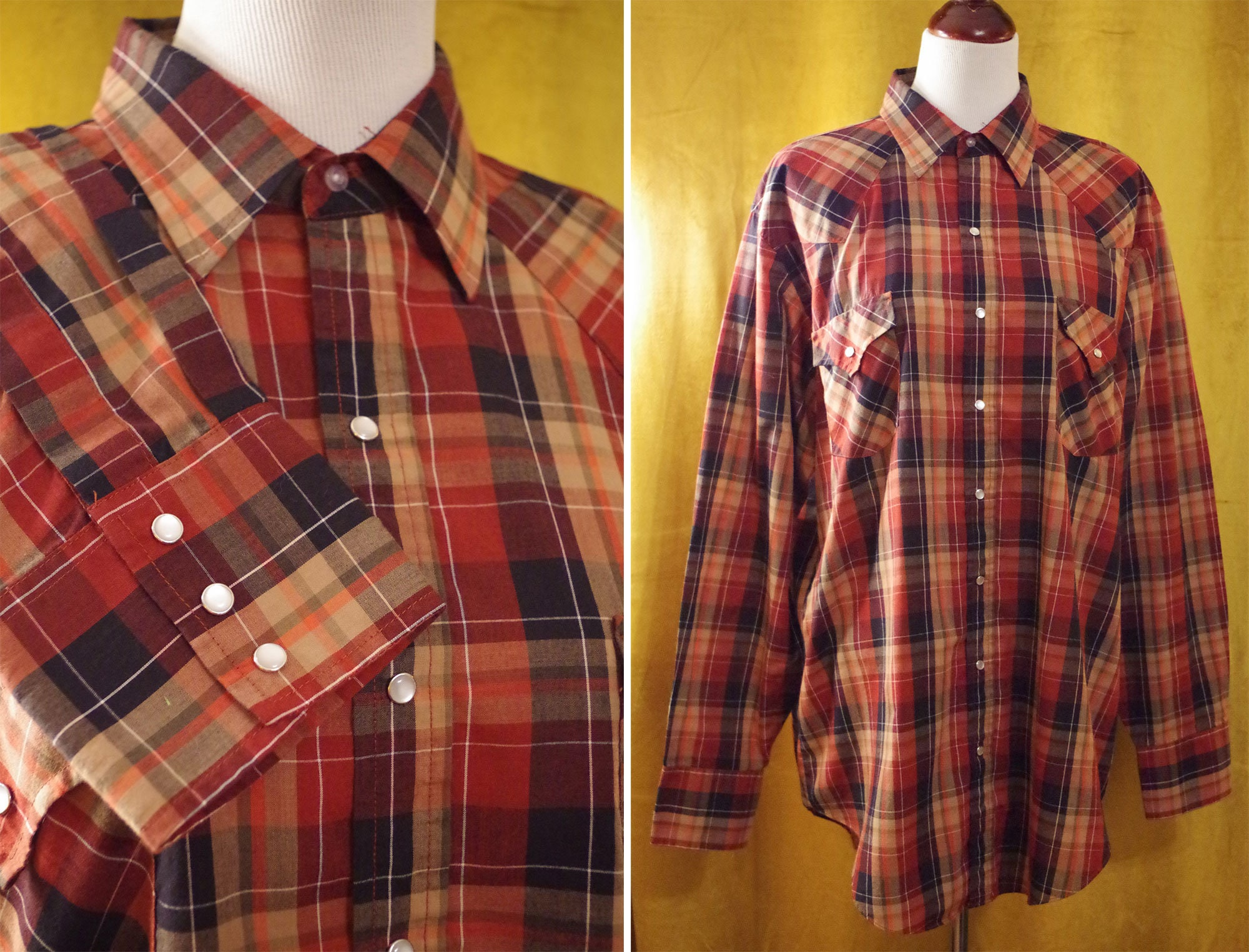 1970s Men's Shirt Styles – Vintage 70s Shirts for Guys Western 1970s Vintage Mens Burgundy Maroon  Brown Plaid Cowboy Shirt with Long Sleeves Pearl Snaps  Ely Cattleman Size Xl Large Tall $44.99 AT vintagedancer.com