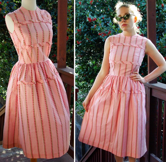 Brentwood 1950's 60's Vintage Sleeveless Pink Cott