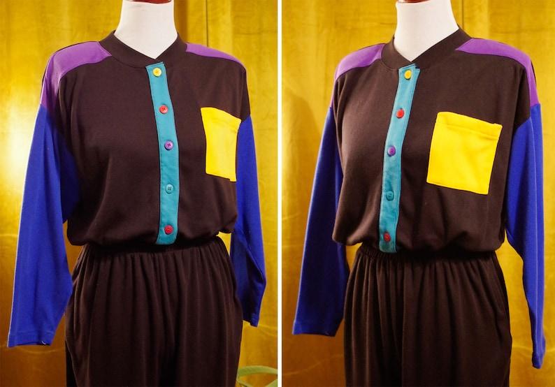 Yellow Pantsuit Jumpsuit w Cinch Waist  size Large  by Fashion Formulas COLOR Block 1980/'s 90/'s Vintage Black Teal Blue Purple