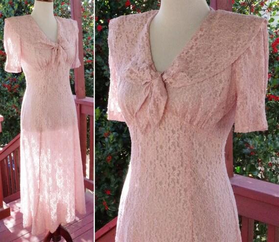 PETAL Pink 1990's does 30's Vintage Long Sheer Flo