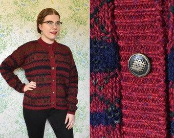 Great NORTHERN 1990's Vintage Deep Red Brown + Navy Thick Wool Cardigan Sweater // size Large XL // by Alps Sportswear // Deadstock w/ Tags