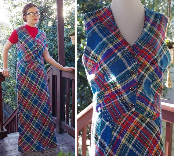 PLAID 1970's Vintage Blue + Red Wool Plaid Maxi Sk