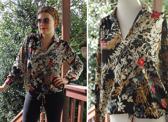 Flower FIELD 1970's Vintage Slouchy Polyester Blou