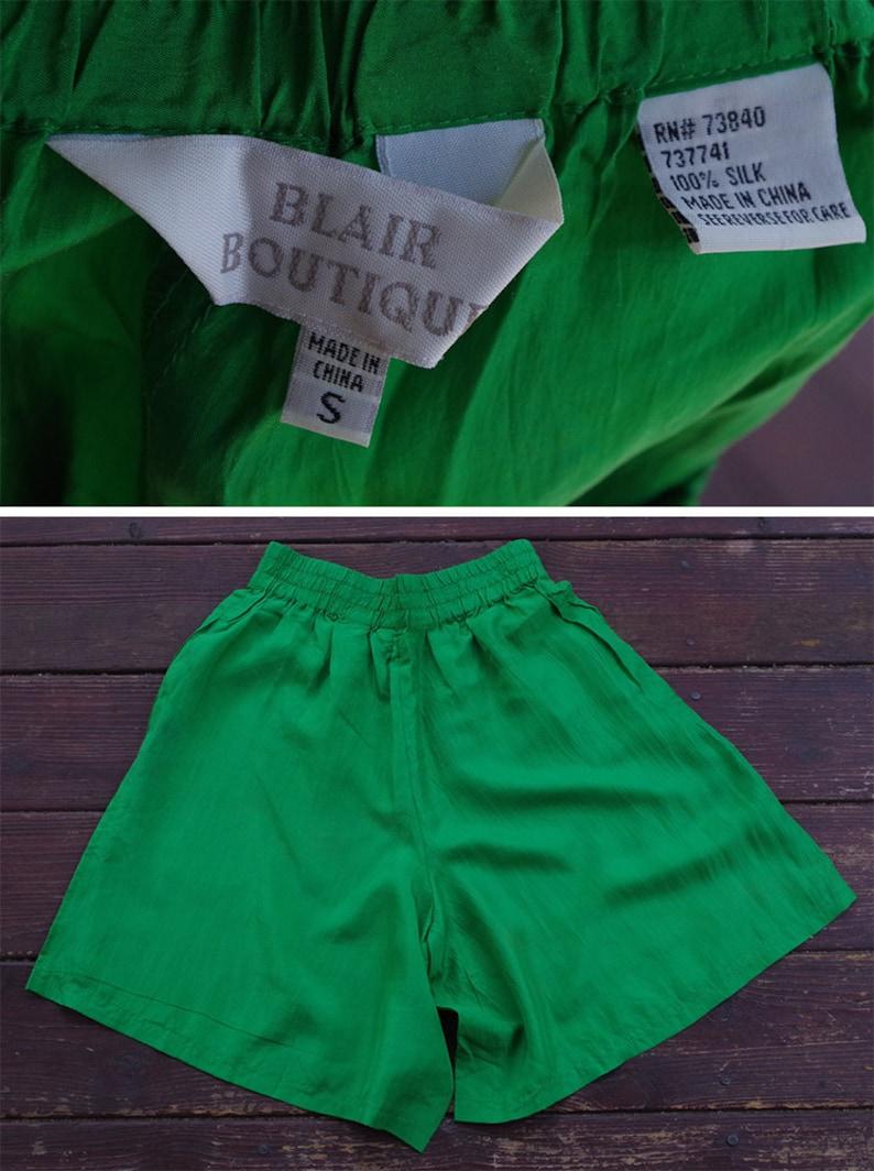 GREEN Machine 1980/'s 90/'s Vintage Bright Grass Green High Waist SILK Shorts  by Blair Boutique  size Small