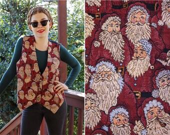 SANTA Clause 1980's 90's Vintage Deep Red Tapestry Vest w/ Lots of Santas // Christmas Holiday // by JACLYN T San Francisco // Ho Ho Ho