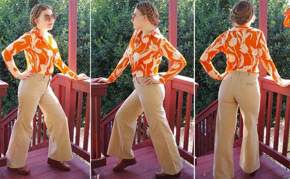 CORDUROY 1960's 70's Vintage Khaki Beige Cotton H… - image 3