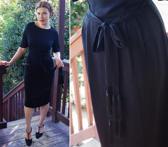 Little Black Dress 1950's 60's Vintage Black Dress