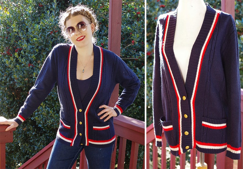 White Striped Cardigan Sweater with Gold Buttons  size Medium STRIPES 1970/'s Vintage Blue Red