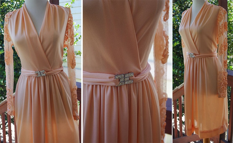 Pretty PEACH 1970/'s Vintage Sheer Back Embroidered Dress with Long Sleeves Rhinestone Belt  by Felix Arbeo for I.MAGNIN  size XS Small